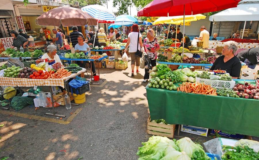 Green market in Split, Croatia